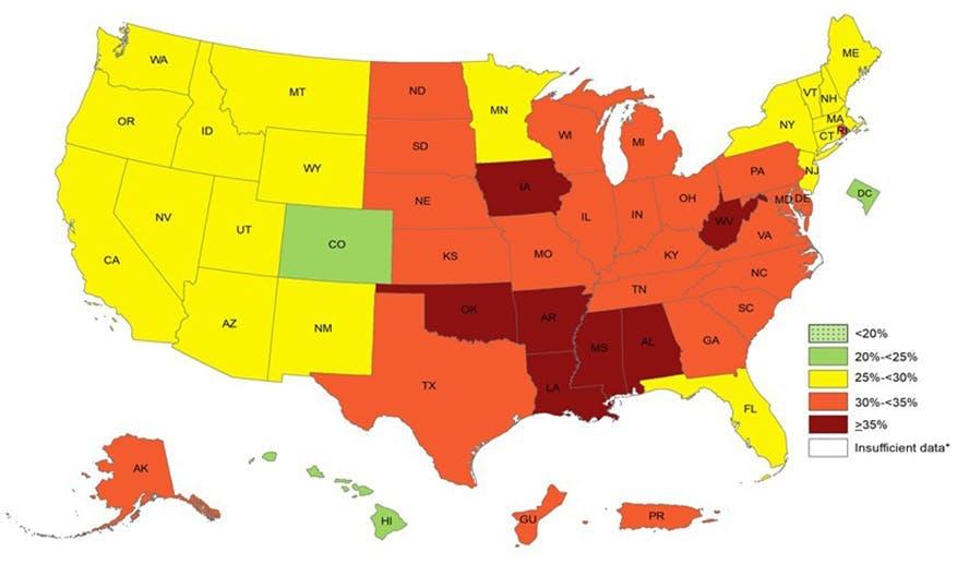 Sju amerikanska delstater har nu mer än 35% feta