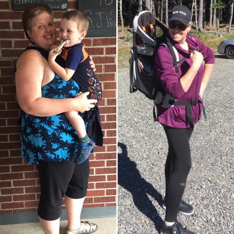 Stephanie with child before and after