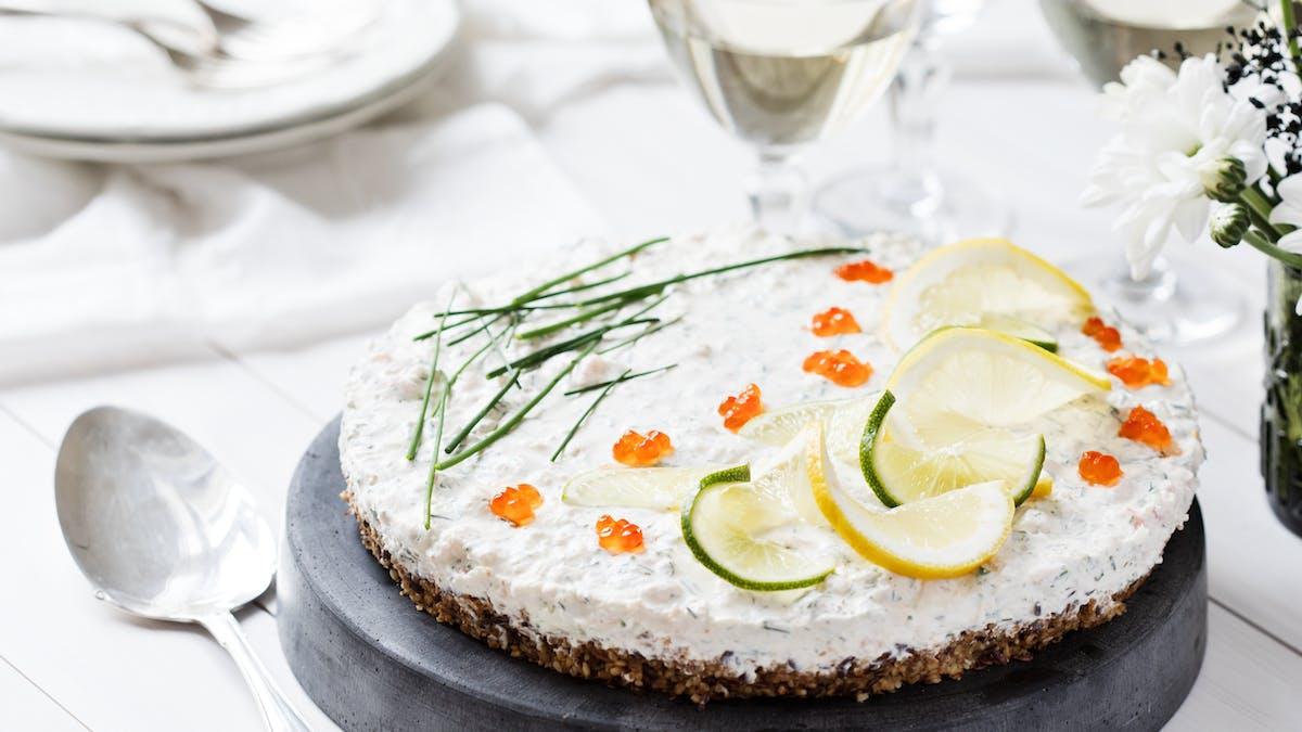 Räkcheesecake med fröbotten