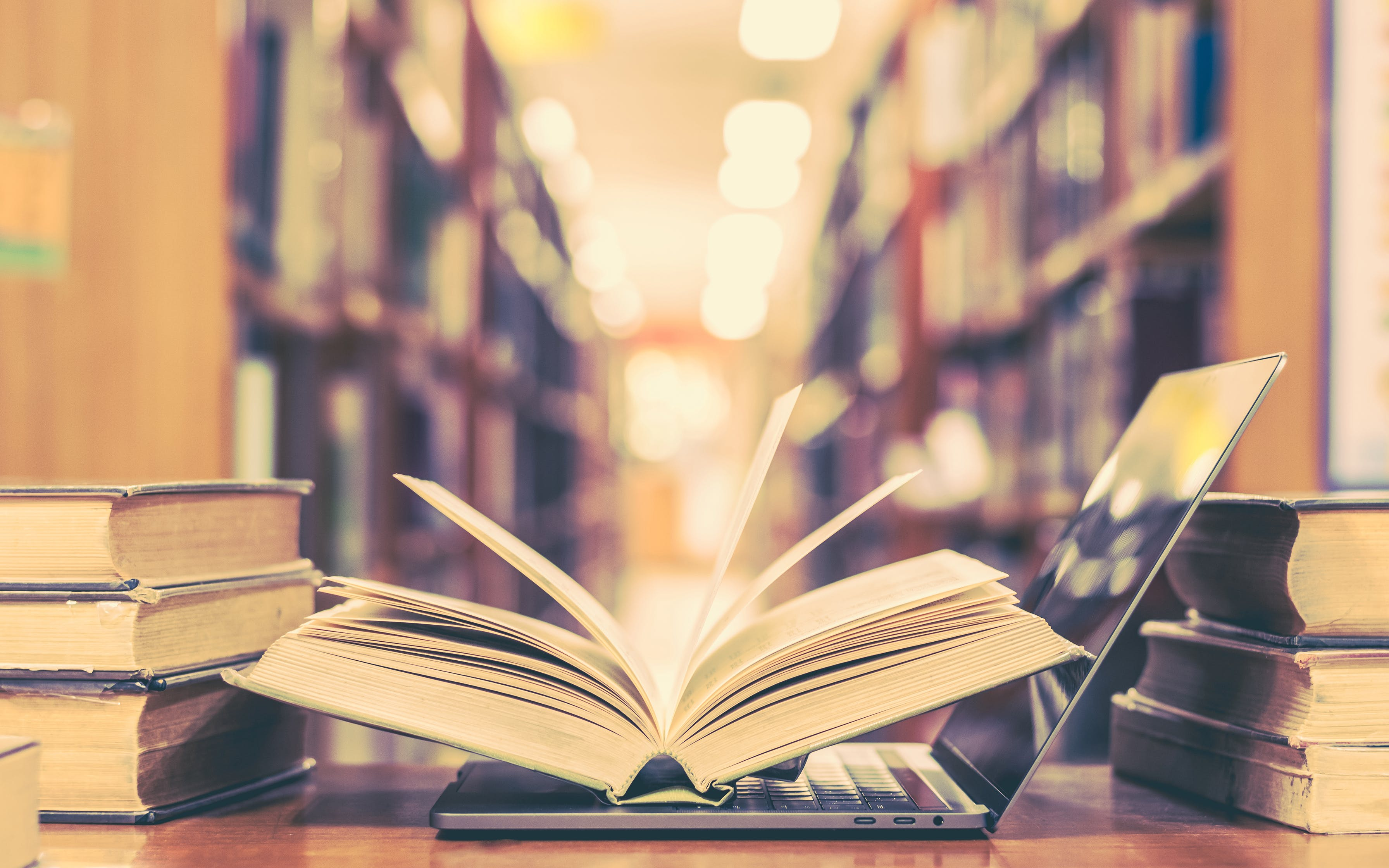 Book and computer technology in library