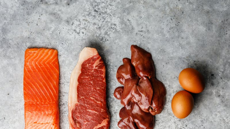 Raw food selection for Ketogenic diet Egg, Chicken Liver, Beef meat Steak and Salmon fish Steak on gray concrete background copy space