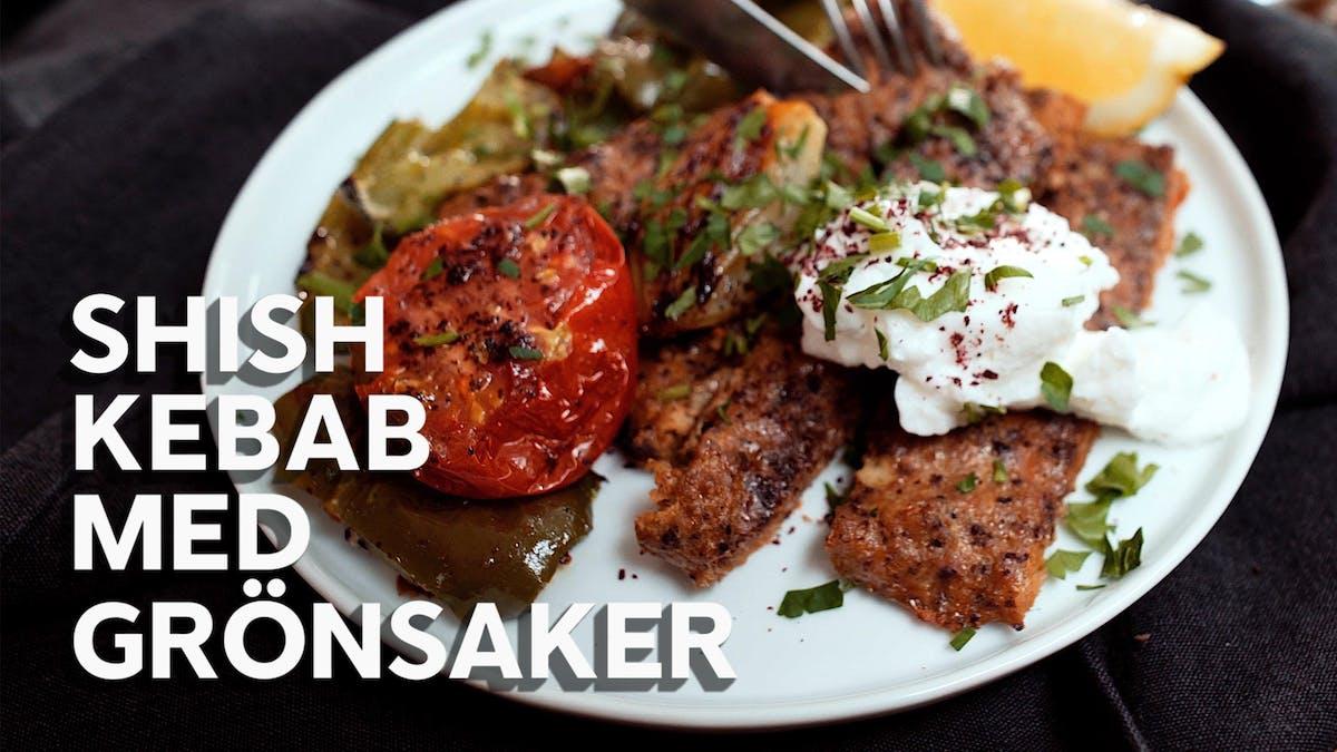 Shish kebab med grönsaker