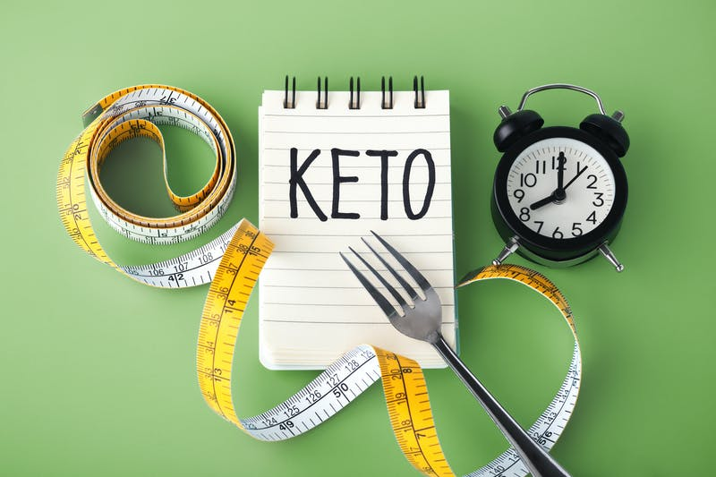 Intermittent fasting on keto concept on green background