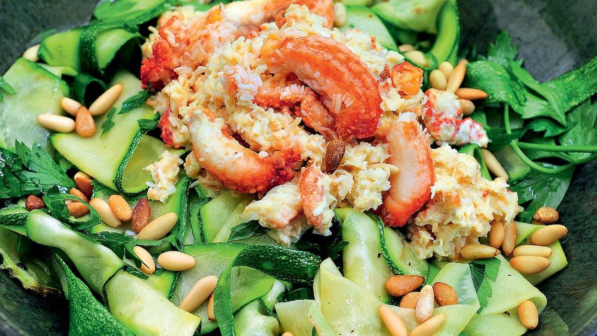 Zucchinipasta med krabba