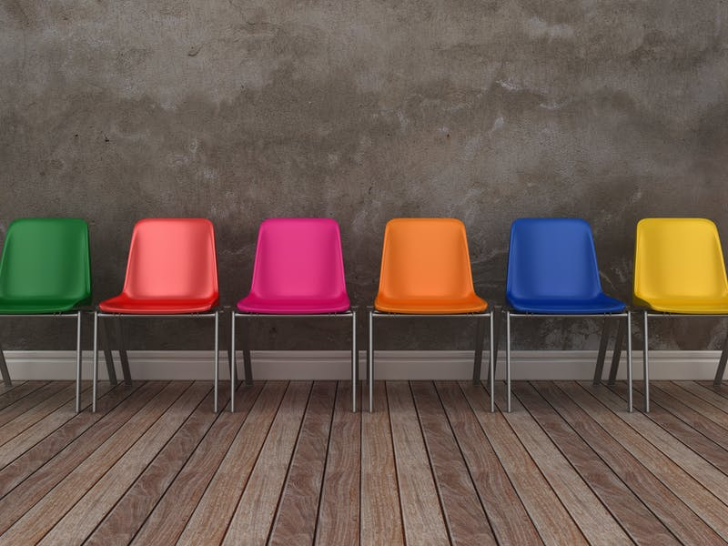 Chairs row on Floor – 3D Rendering