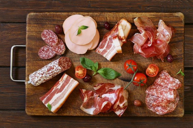 Assorted deli meats – ham, sausage, salami, parma, prosciutto, bacon