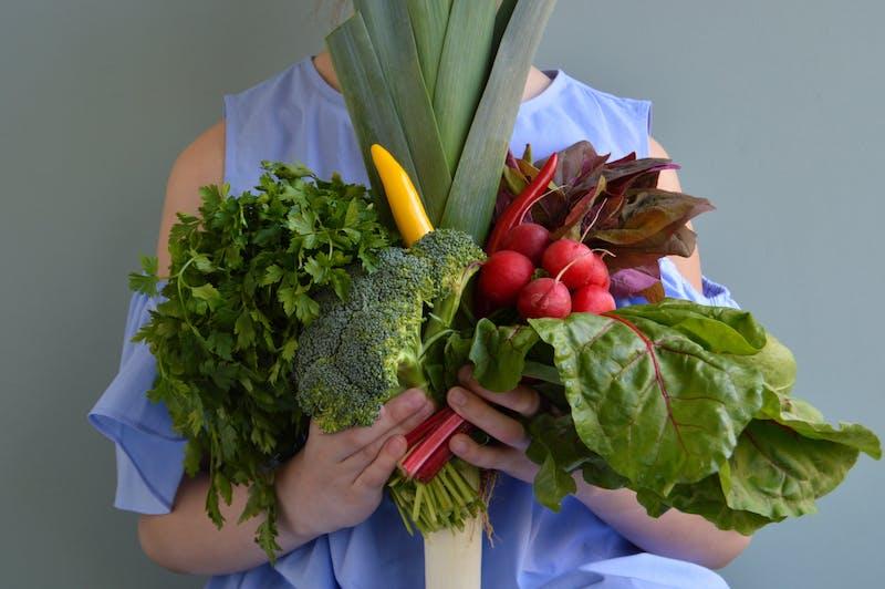 Girl holding vegetables bouquet