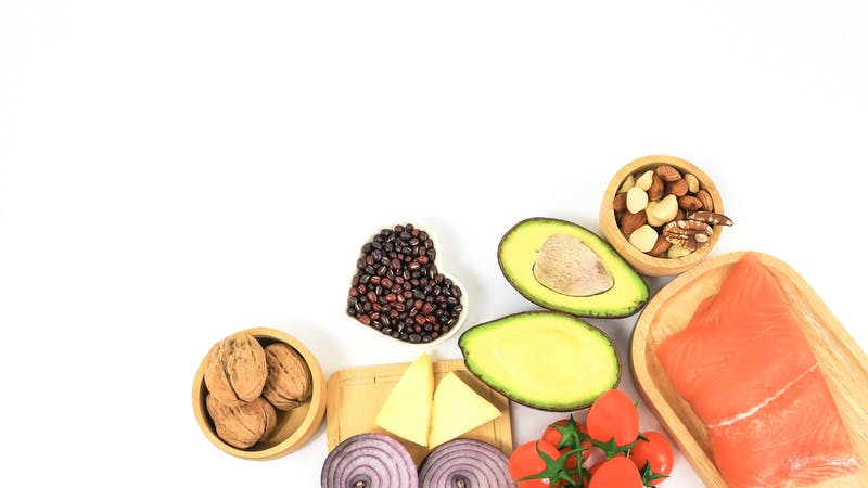 Selection of good Ketogenic low carbs diet concept on white background,copy space