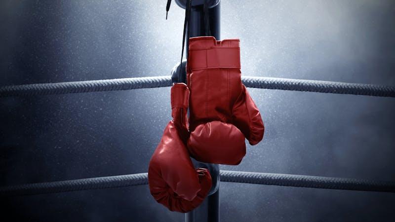 Boxing gloves hanging