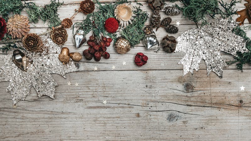christmas and autumnal gray wood background with decoration