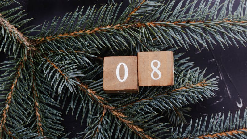Wooden cubes with number. Blue spruce.