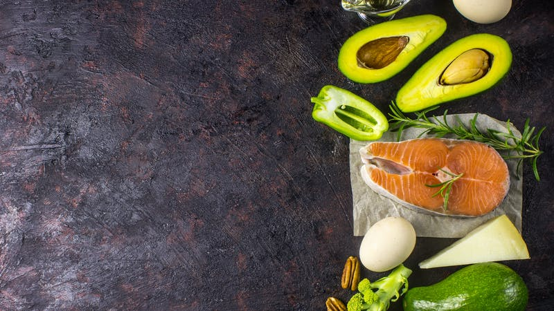 Ketogenic low carbs diet concept. Healthy balanced food with high content of healthy fats.
