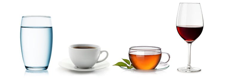 Keto drinks: water, coffee, tea, dry wine