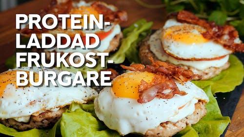 Proteinladdad frukostburgare