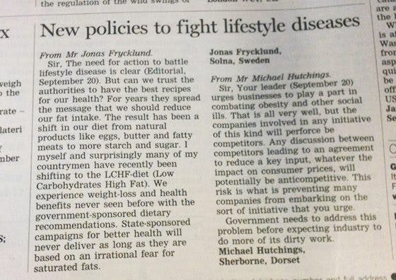 LCHF in Financial Times