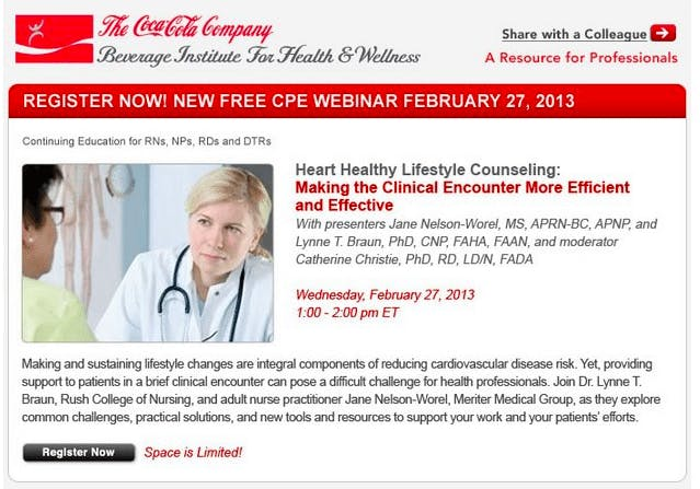 Is Your Dietitian Educated by The Coca Cola Company?