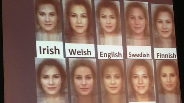 Averaged female faces across Europe