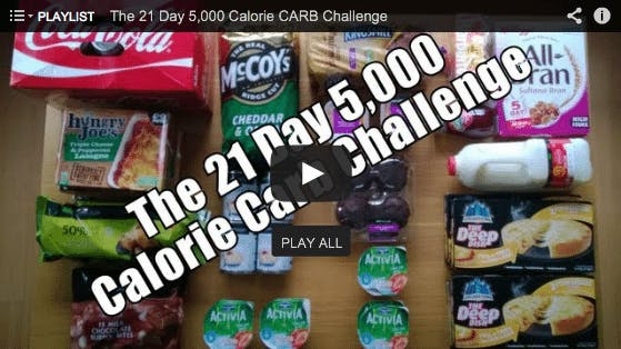 What happens if you eat 5,800 calories of carbohydrate-rich junk food daily?
