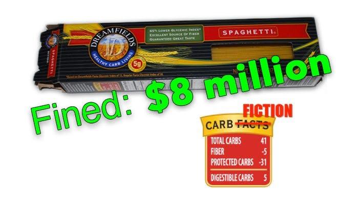 The Dreamfields pasta fraud finally results in an  million dollar fine!