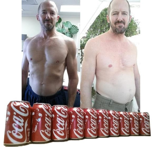 Before and after one month on Coca-cola