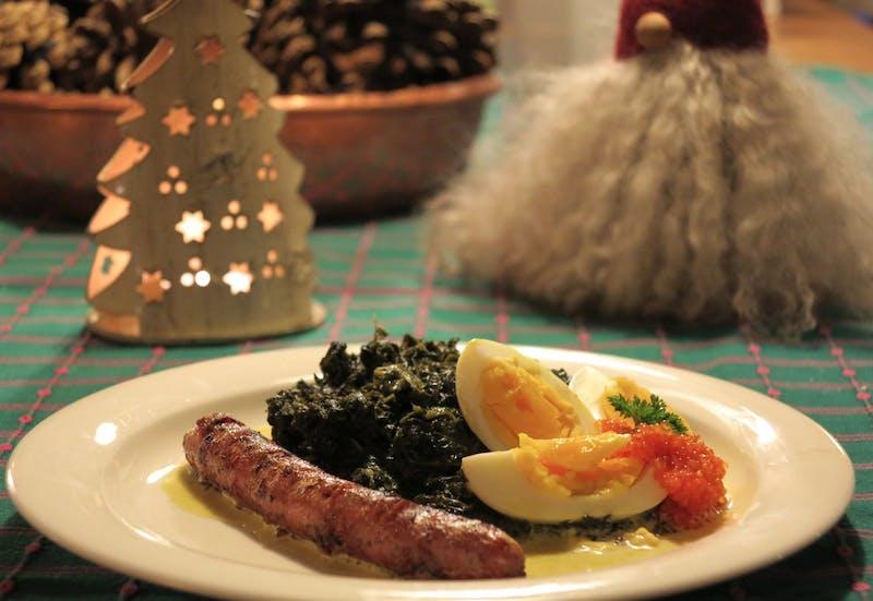 Lammkorv, långkål och ägg