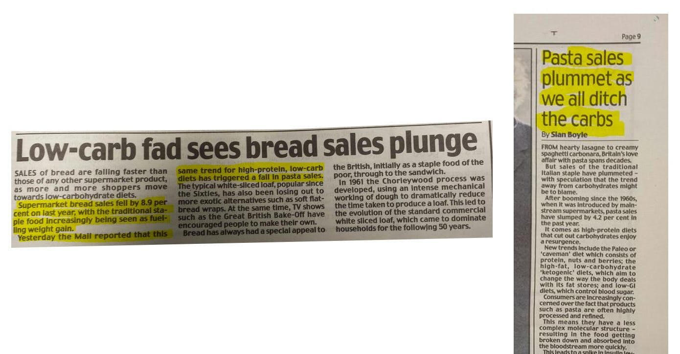 Bread and Pasta Sales Plummet in More and More Places