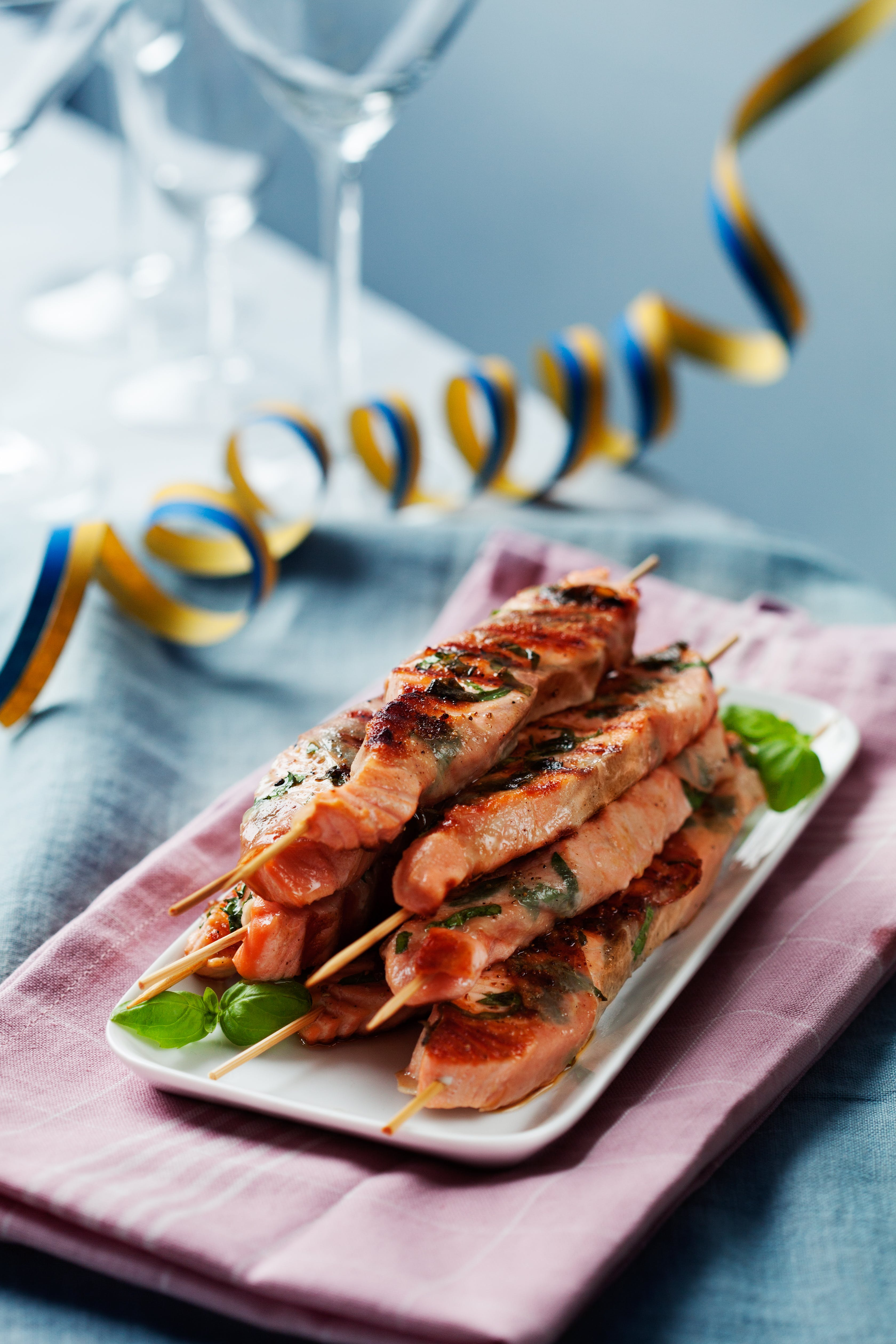 Prosciutto-wrapped salmon skewers