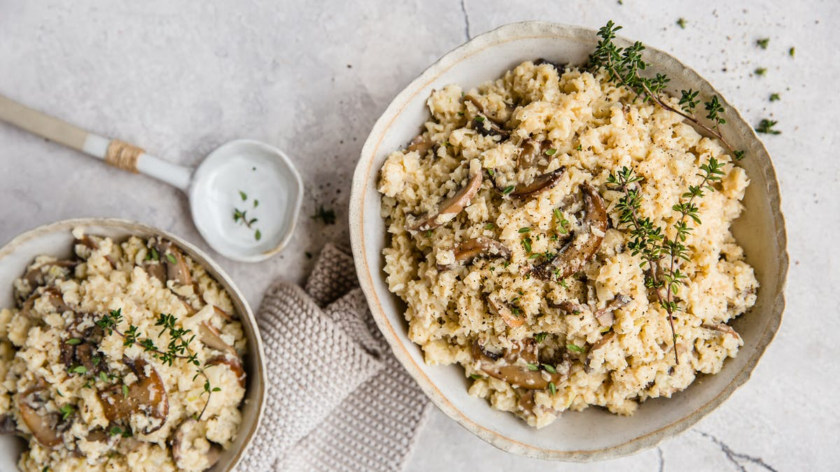 Low-carb mushroom cauliflower risotto