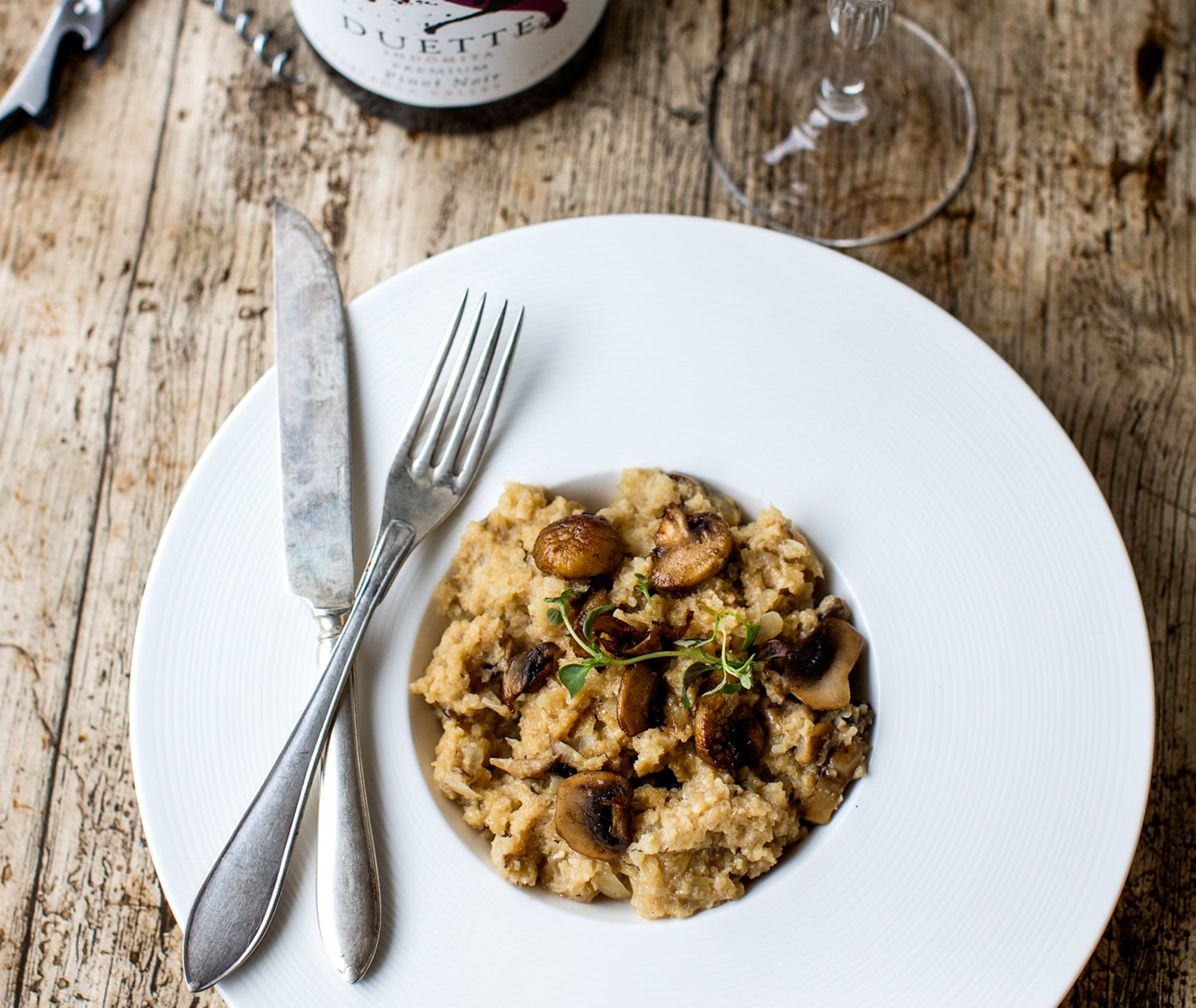 Mushroom cauliflower low-carb risotto