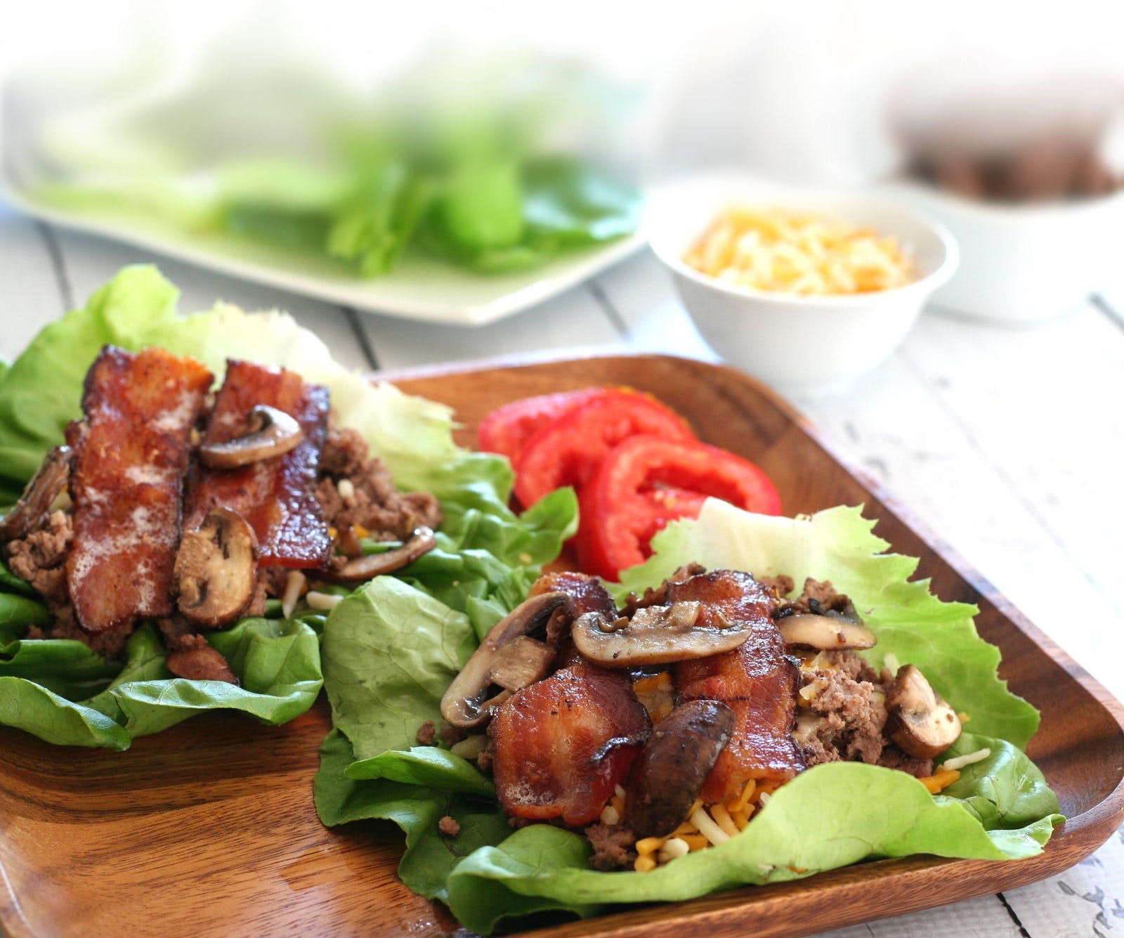 Bacon Mushroom Cheeseburger Lettuce Wraps