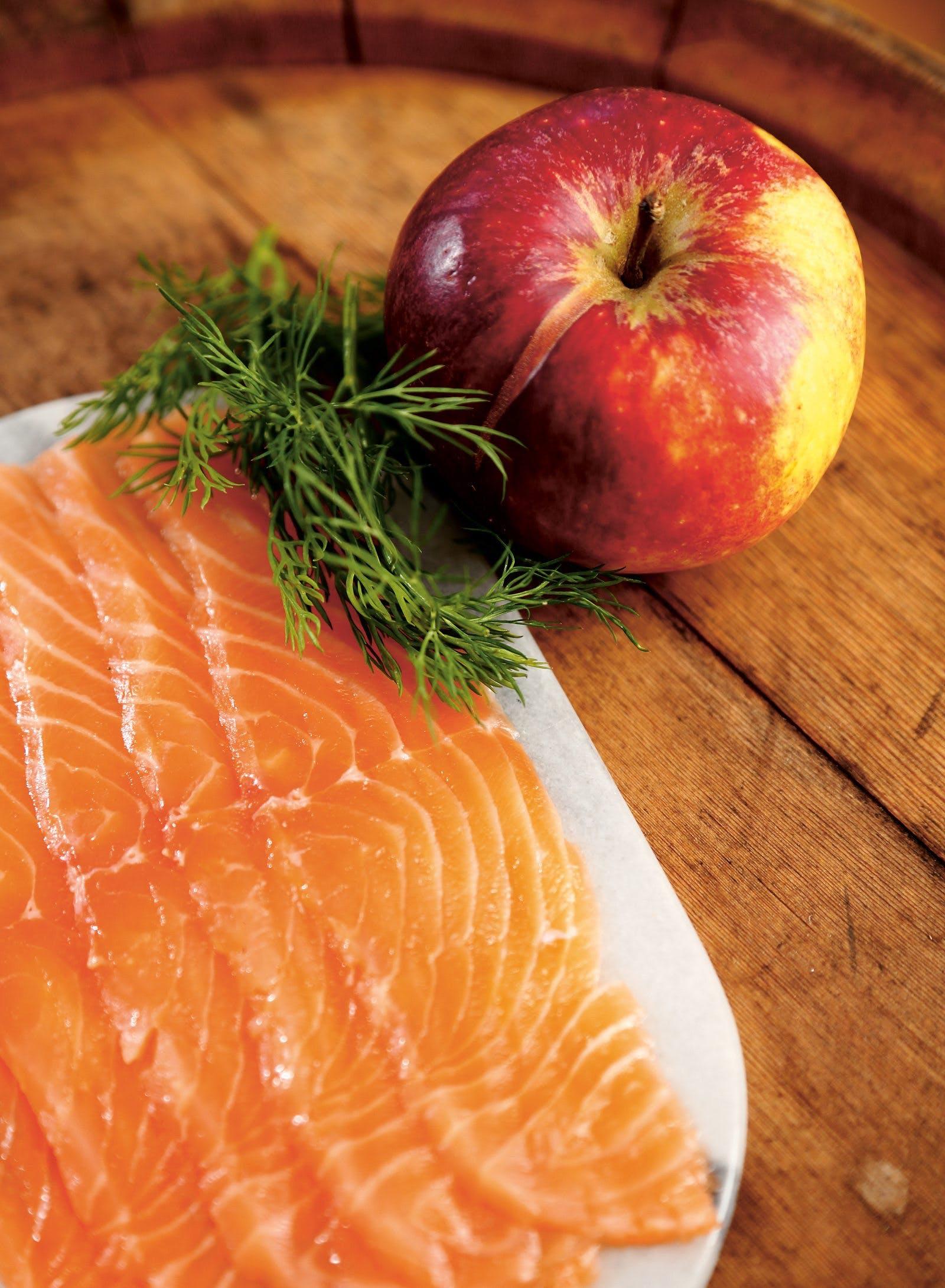 Apple-cured salmon