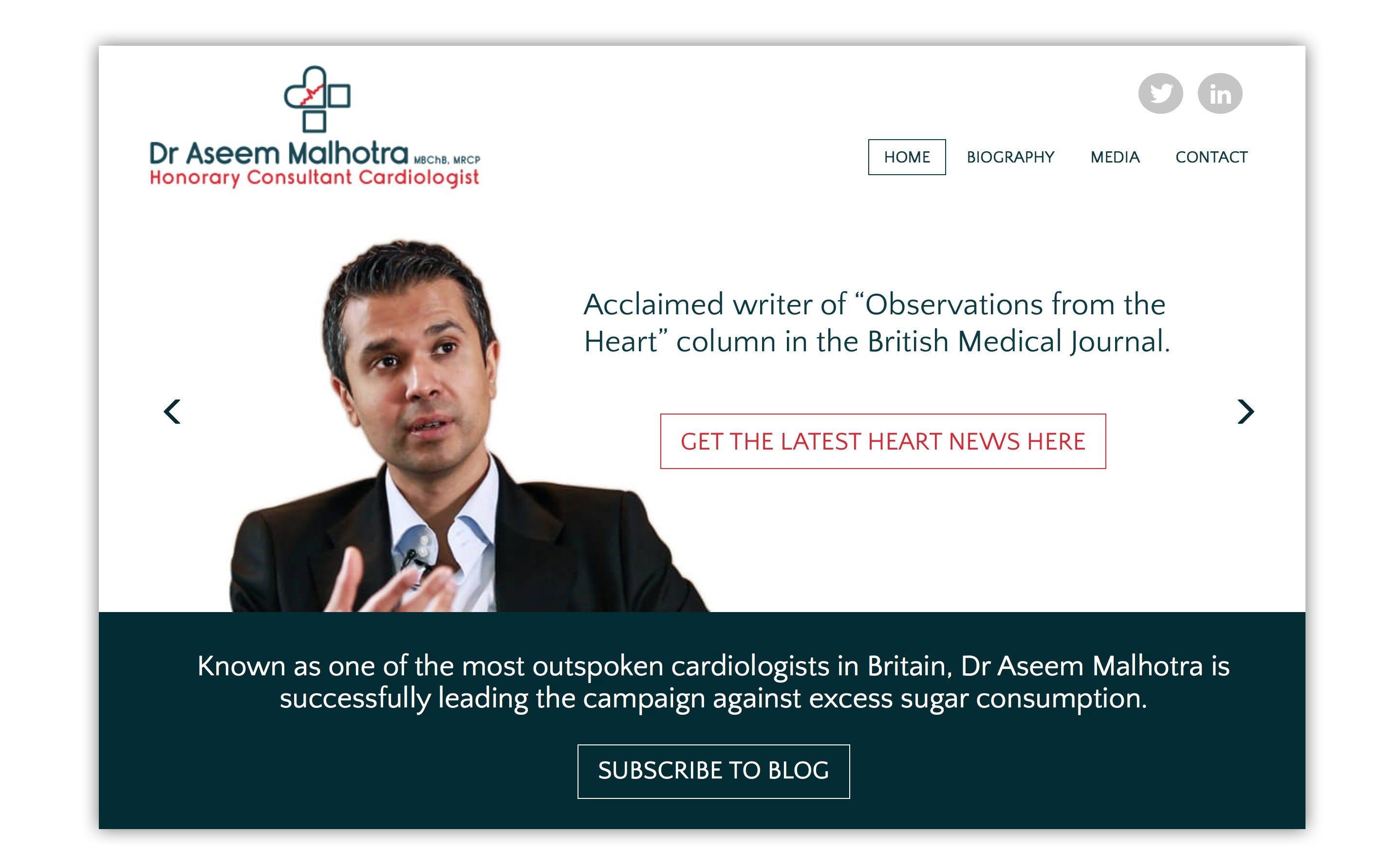 Leading Anti-Sugar Crusader Dr. Aseem Malhotra has a New Website and Blog
