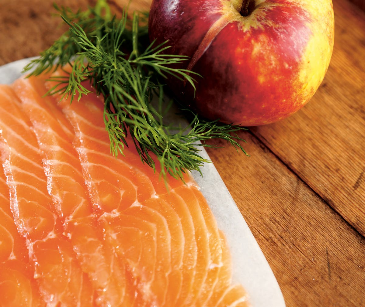 Apple-cured salmon
