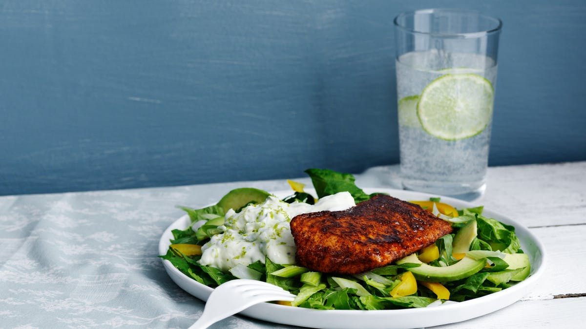 Keto salmon Tandoori with cucumber sauce