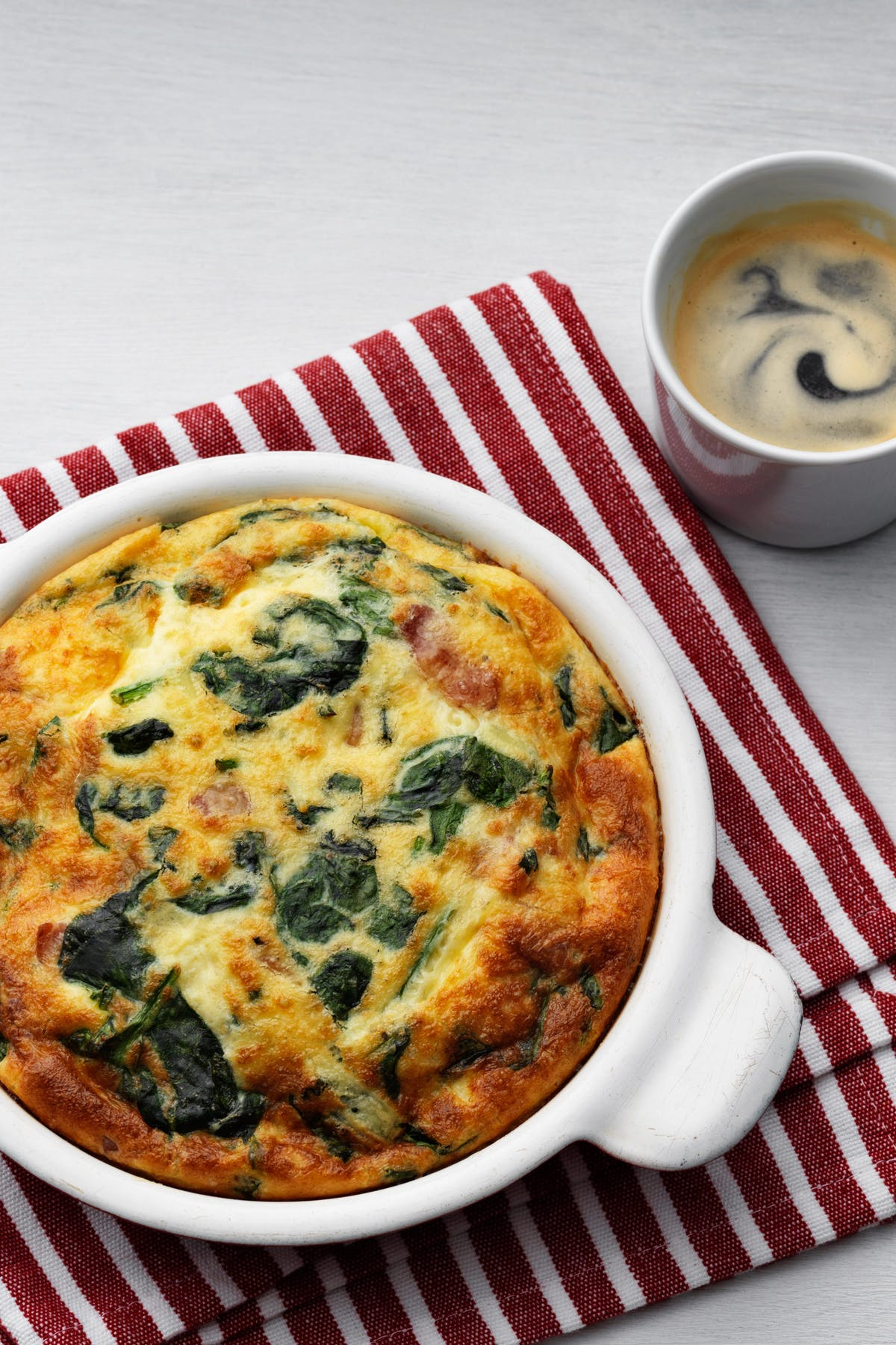 Keto frittata with fresh spinach
