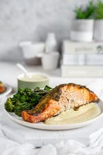 Keto baked salmon with pesto and broccoli