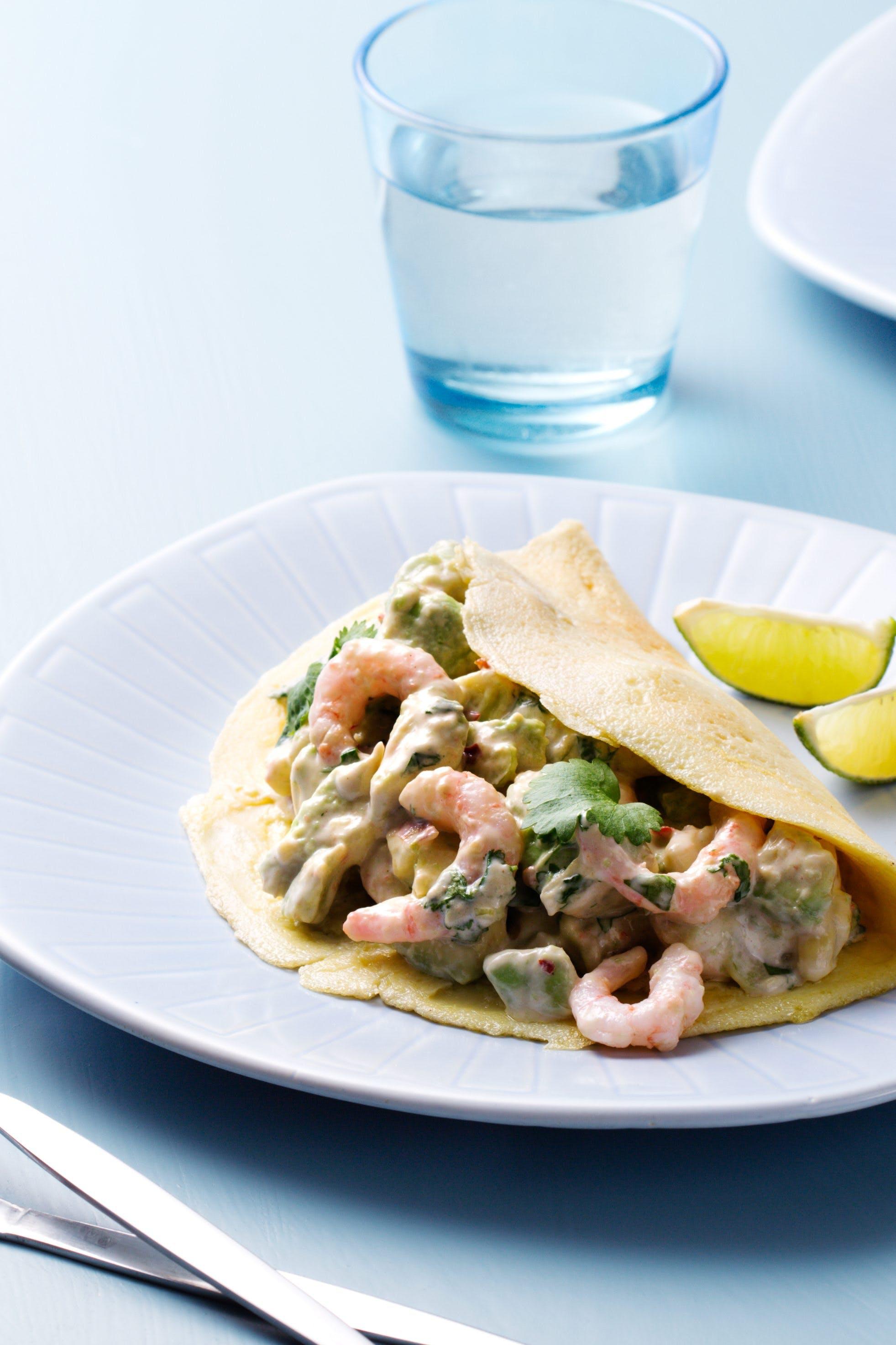 Keto wraps with avocado and shrimp salad