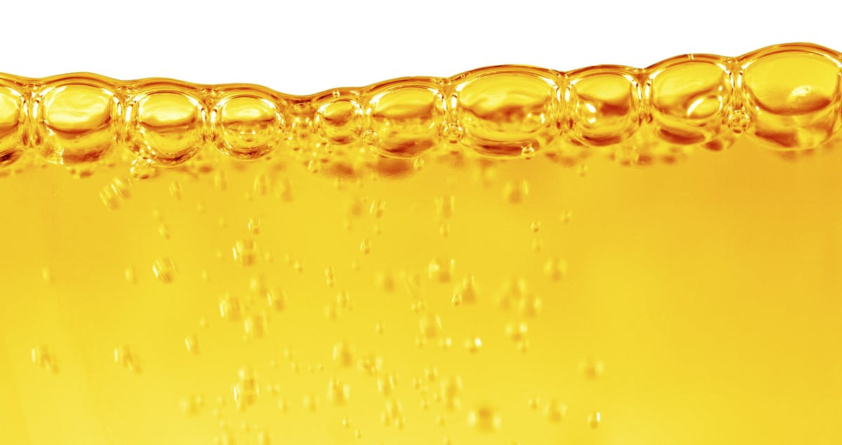 Oil with air bubbles at the white background