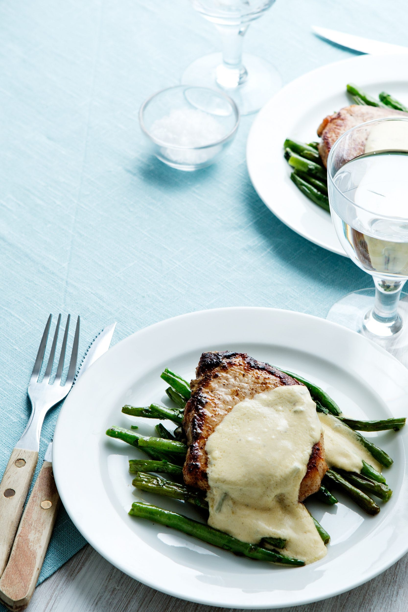 Keto pork chops with blue-cheese sauce