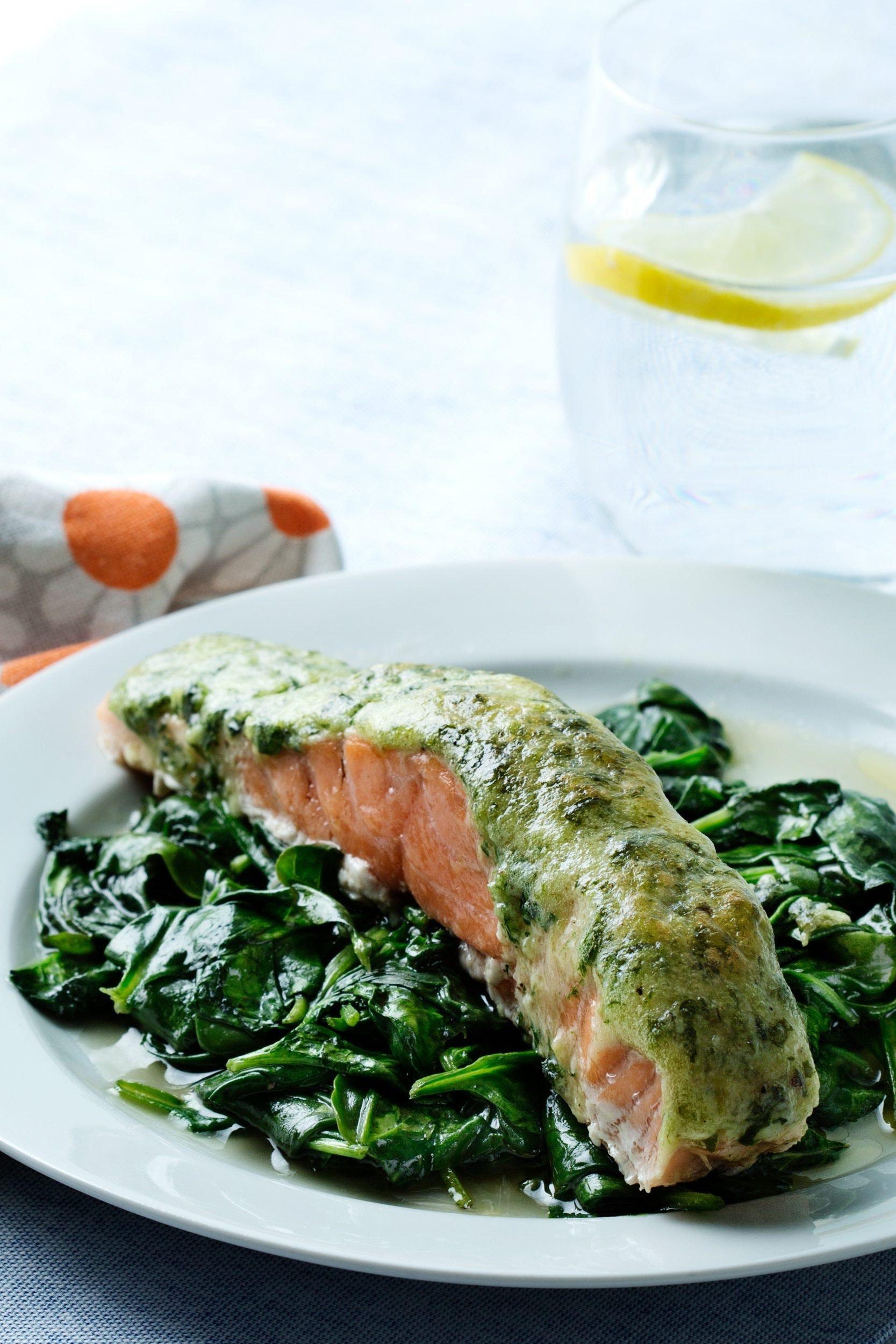Keto Salmon with Pesto and Spinach \u2014 Recipe \u2014 Diet Doctor