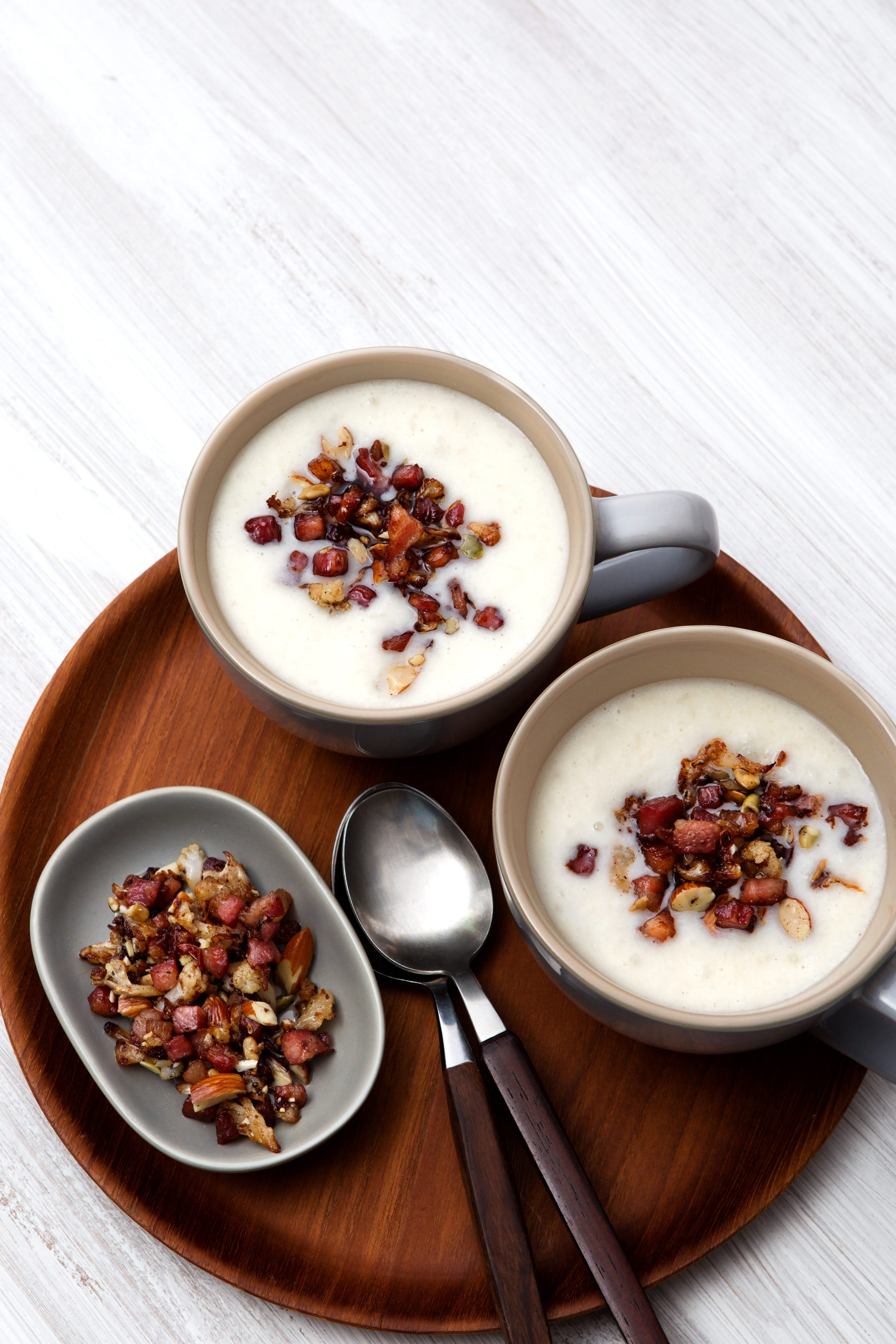 Keto cauliflower soup with crispy pancetta