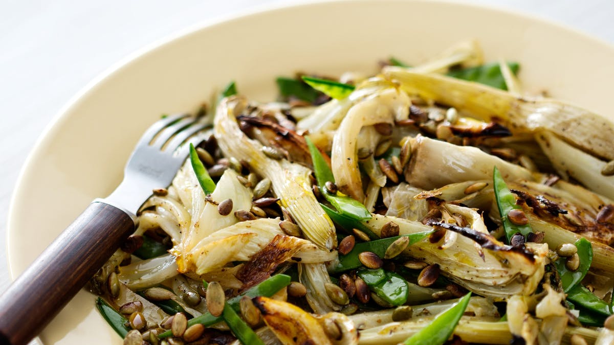 Roasted fennel and snow pea salad
