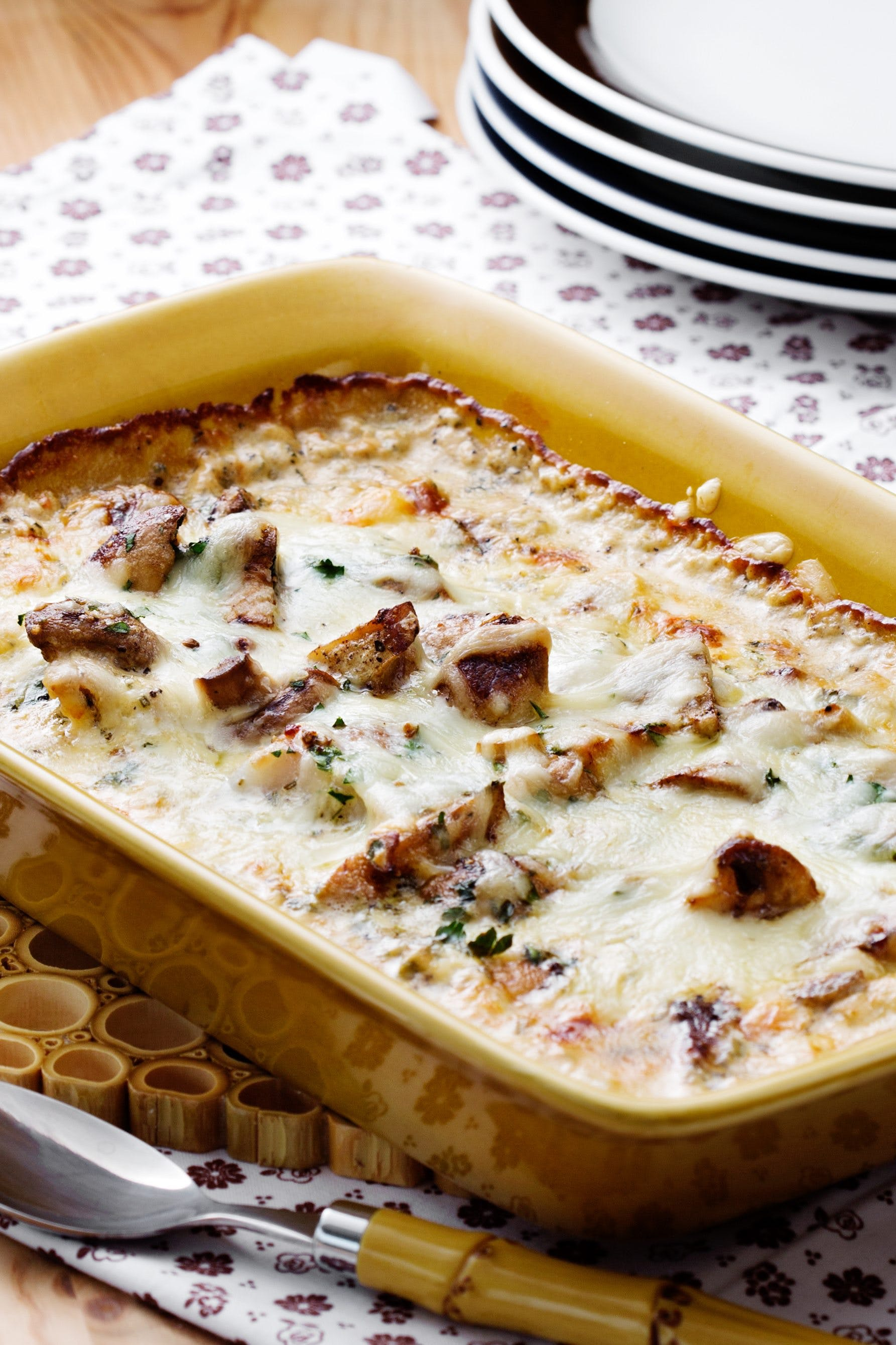 Keto fish casserole with mushrooms and French mustard