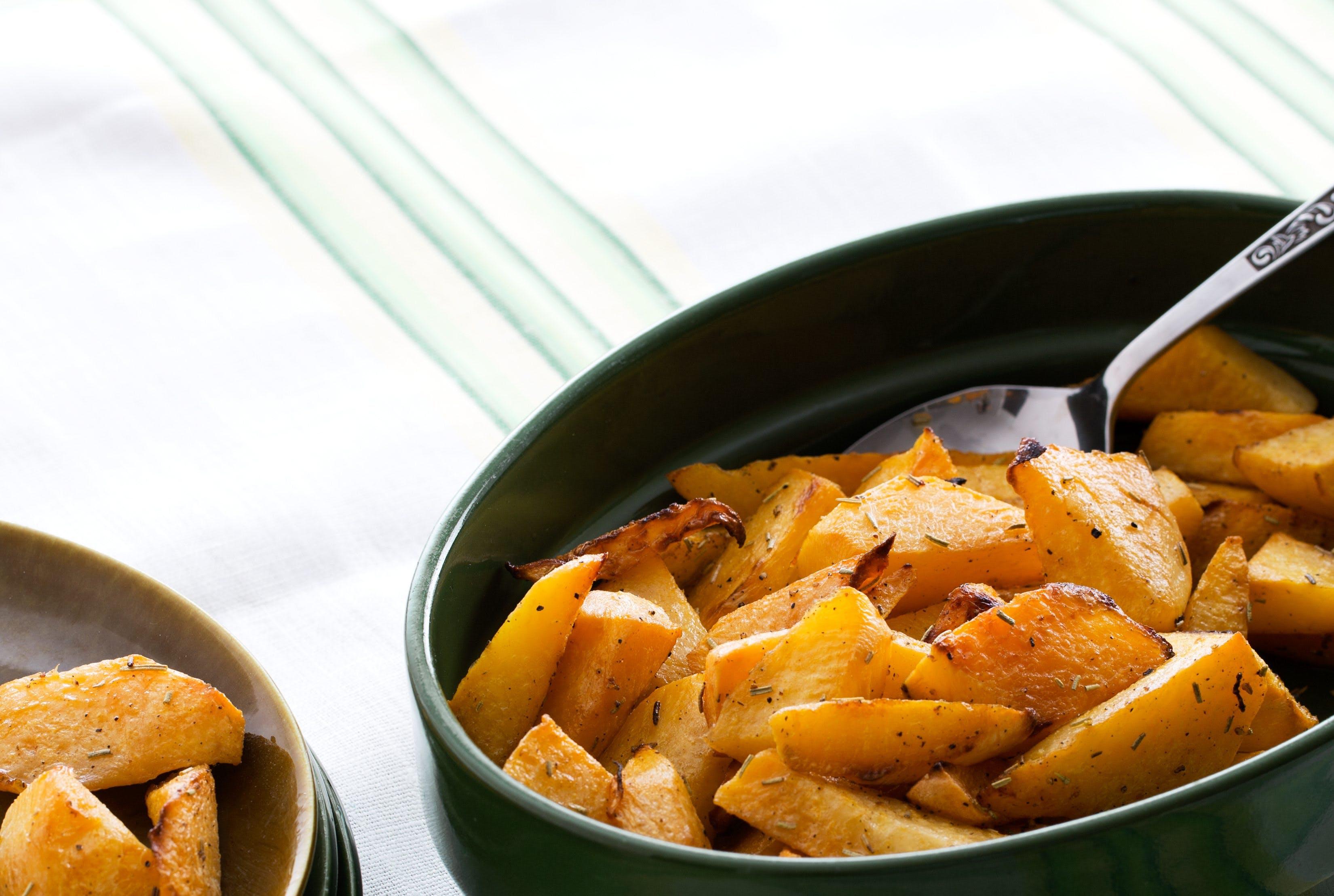 Oven-baked rutabaga wedges