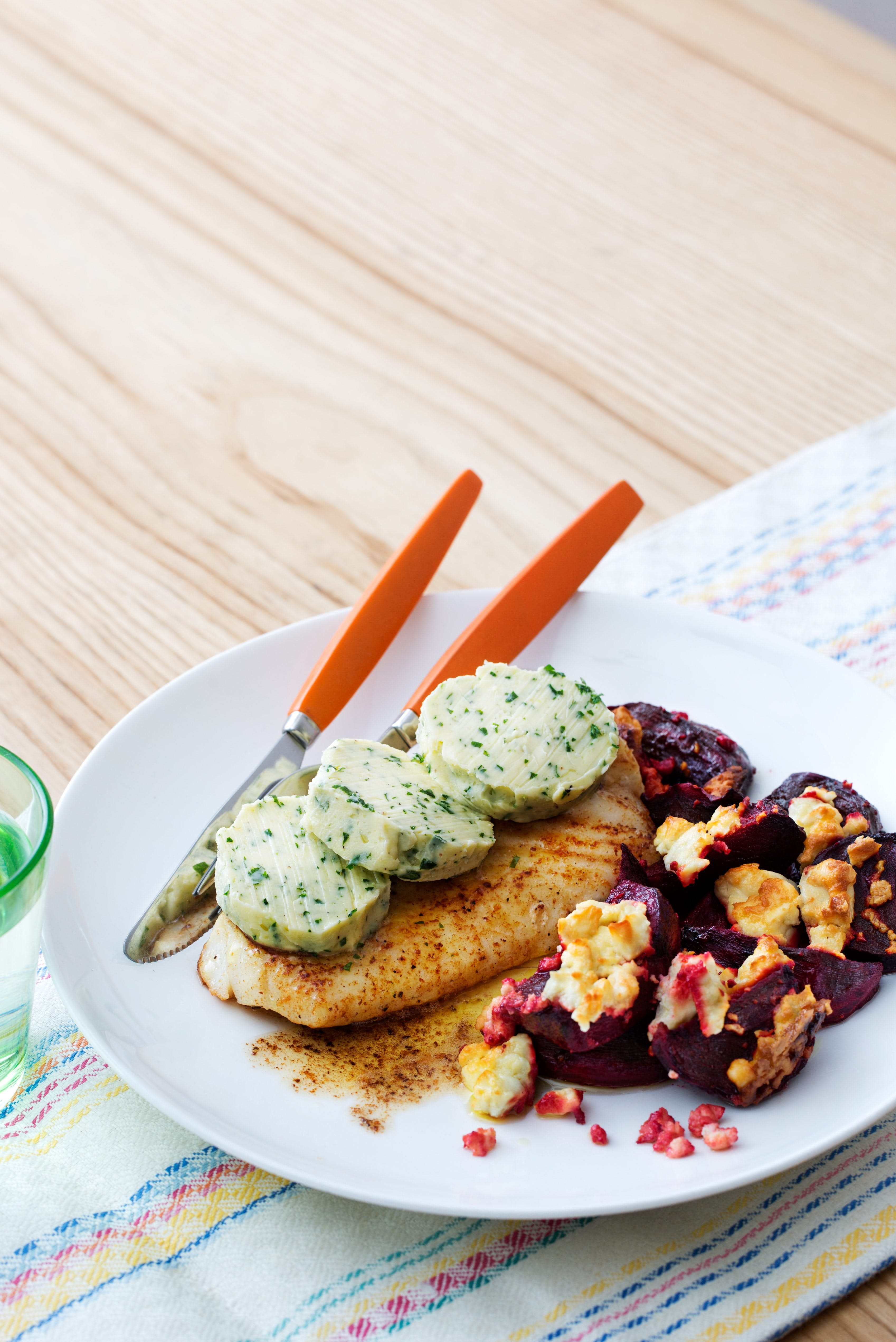 Keto fish with oven-baked beets