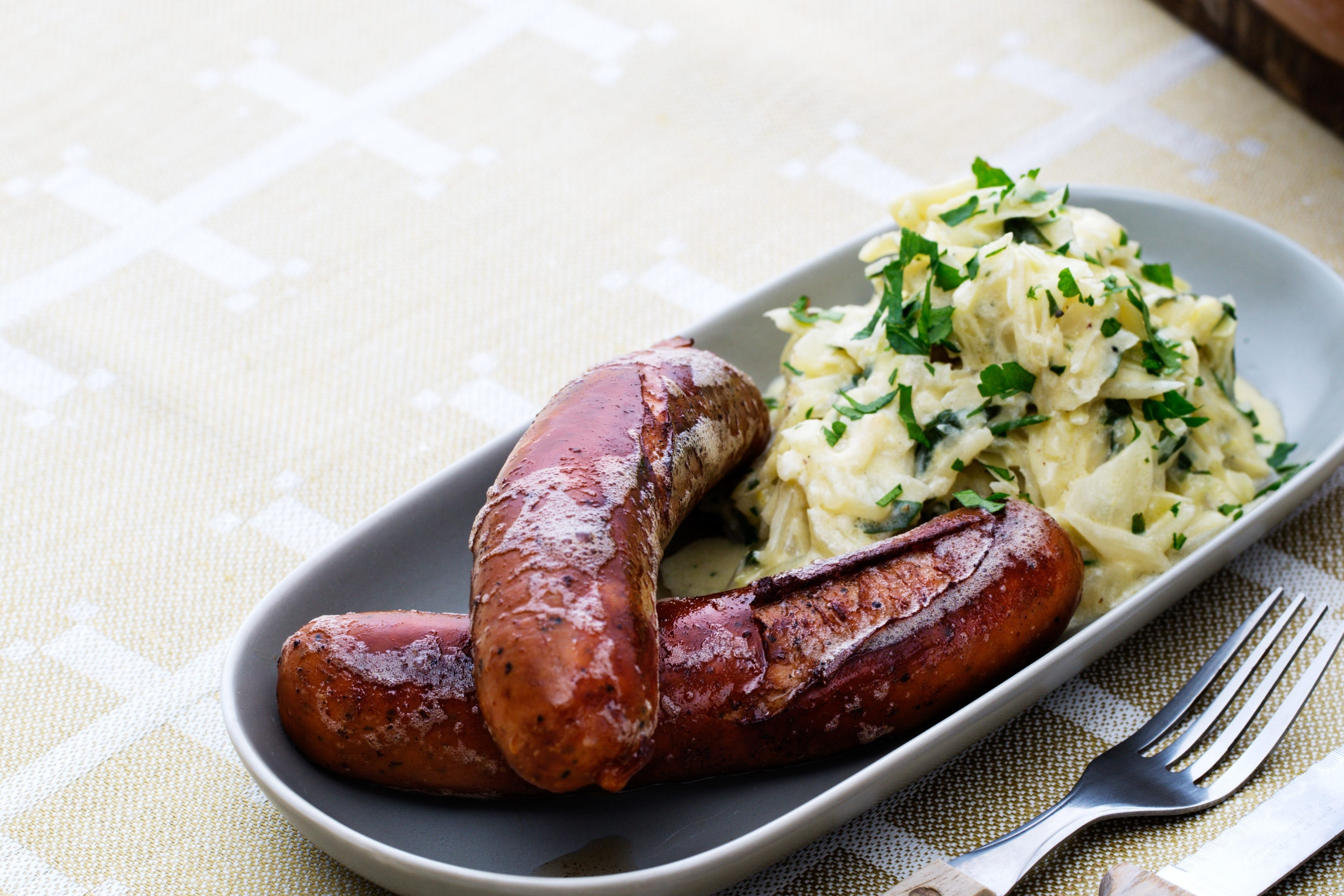 Chorizo with creamed green cabbage