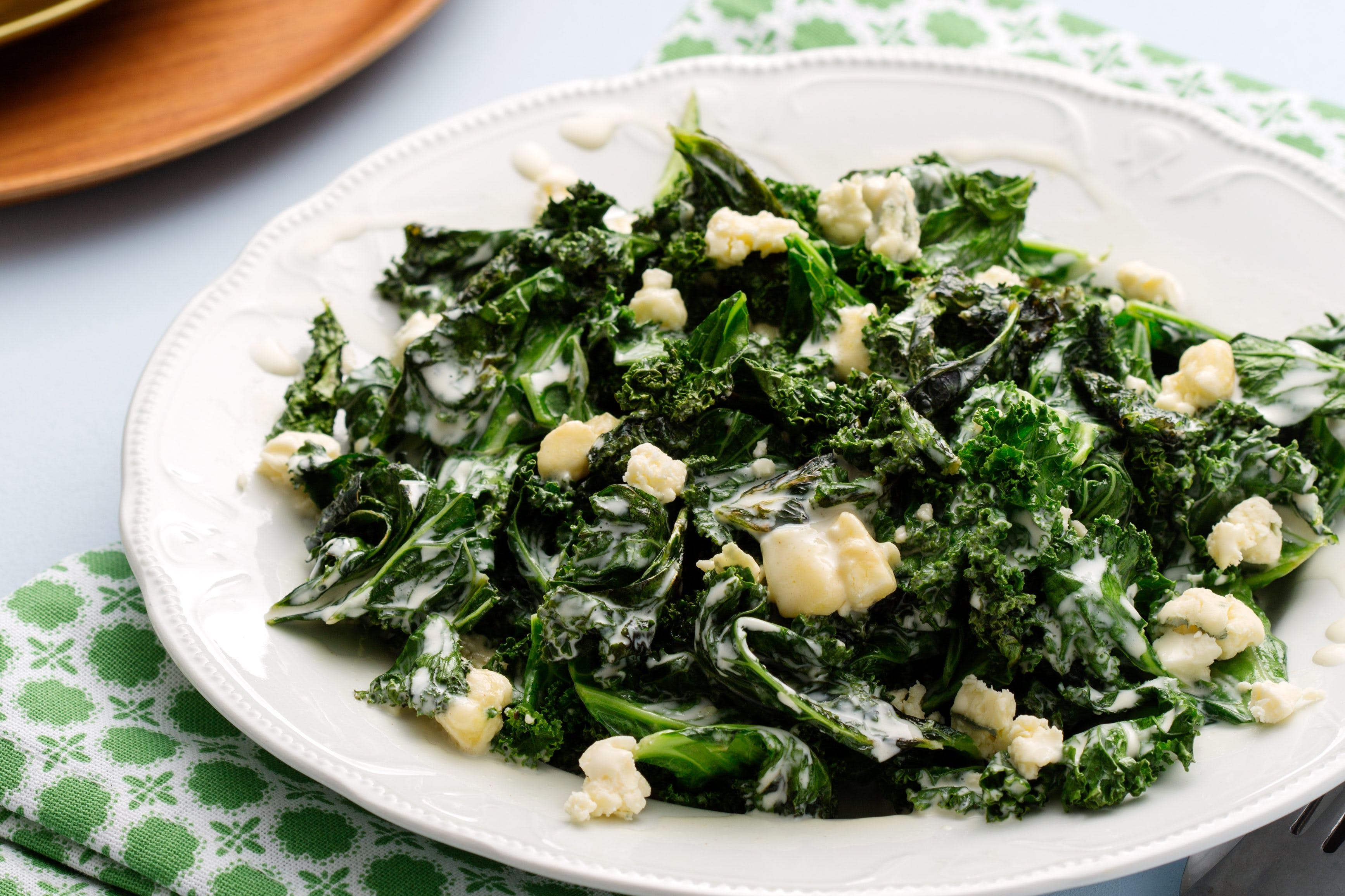 Warm keto kale salad