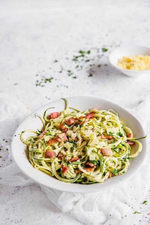 Keto pasta carbonara with zoodles