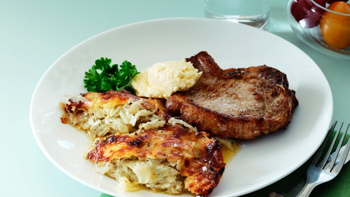 Keto pork chops with cabbage casserole