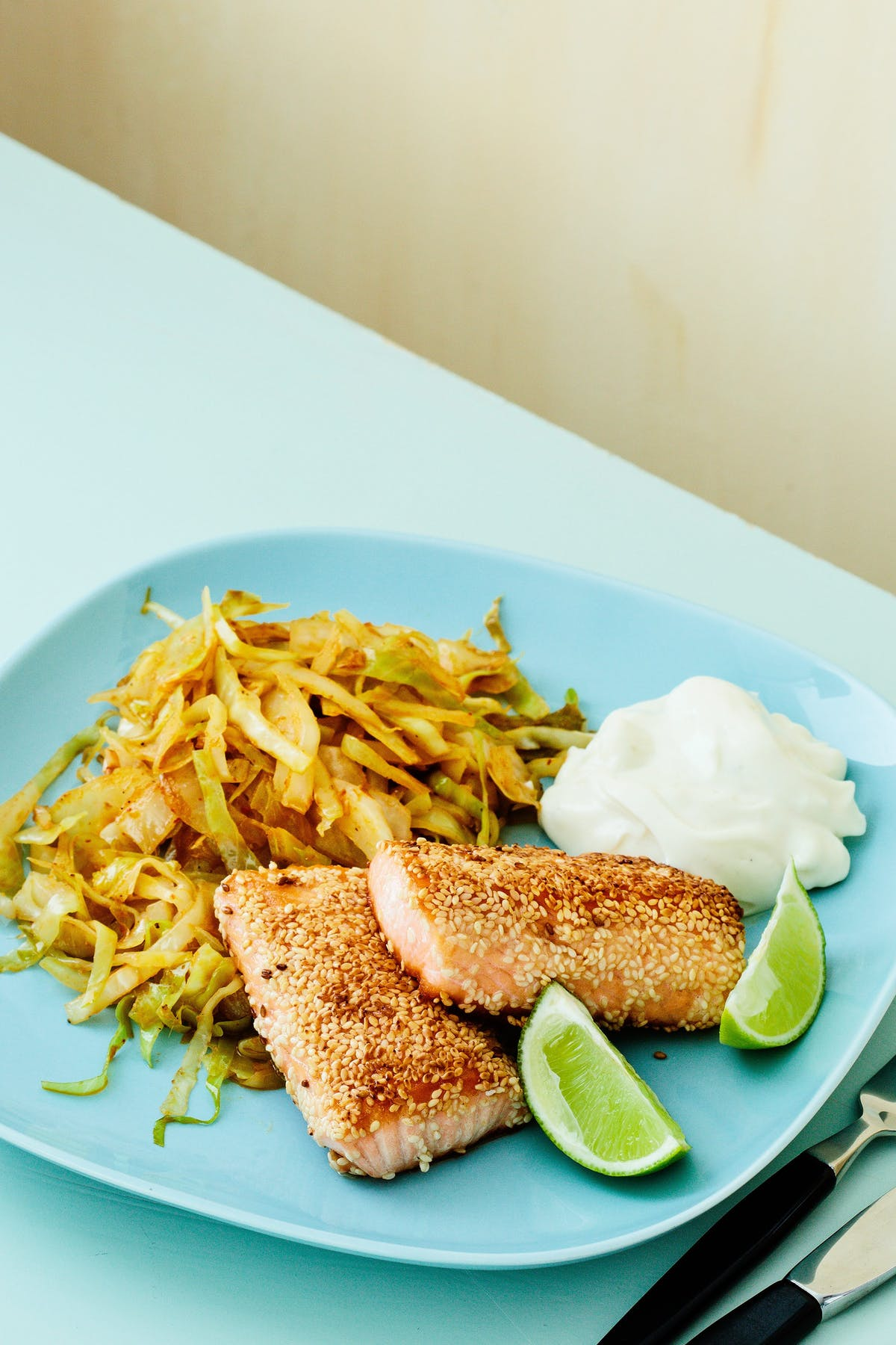 Keto sesame salmon with Thai curry cabbage
